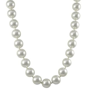 Rhodium Finish White Faux Pearl Strand Necklace