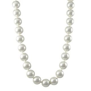 Luxiro Rhodium Finish 14-mm White Faux Pearl Strand Necklace