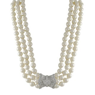 Luxiro Rhodium Finish Faux Pearls Pave Crystals 3-row Statement Necklace