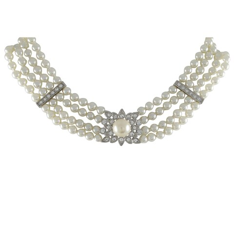 Luxiro Rhodium Finish Faux Pearls Pave Crystals 4-row Choker Necklace - Silver