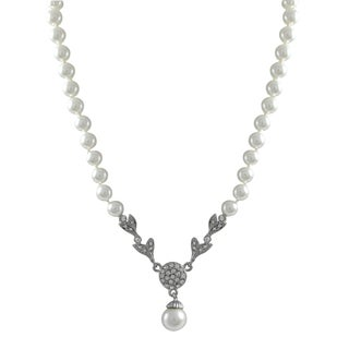 Luxiro Rhodium Finish Faux Pearls Pave Crystals Pendant Necklace