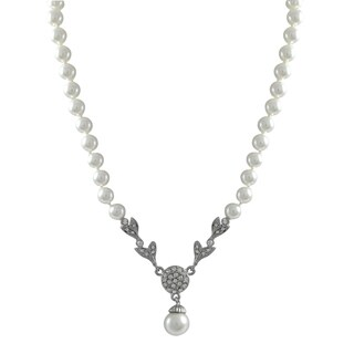 Luxiro Rhodium Finish Faux Pearls Pave Crystals Pendant Necklace - Silver