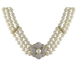 Luxiro Two-tone Gold Finish Faux Pearls Pave Crystals Flower 3-row Necklace