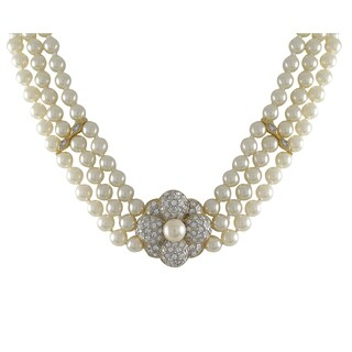 Luxiro Two-tone Gold Finish Faux Pearls Pave Crystals Flower 3-row Necklace - Silver