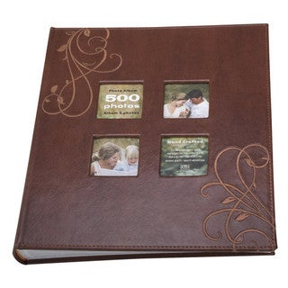 Kleer-Vu Photo 4x6 Brown Embroidery Leather Collection Book