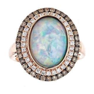 Anika and August 14k Rose Gold Oval-cut Ethiopian Opal and 7/8ct TDW Diamond Ring (G-H, I1-I2)