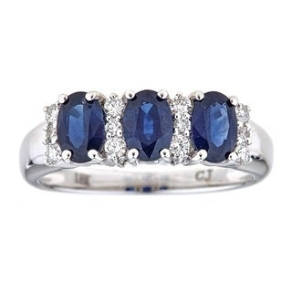 Anika and August 18k White Gold Oval-cut Ceylon Blue Sapphire and 1/4ct TDW Diamond Ring (G-H, I1-I2)