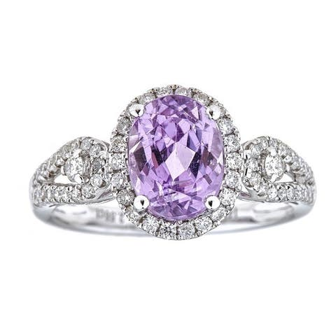 Anika and August 14k White Gold Oval-cut Brazilian Kunzite and 1/2ct TDW Diamond Ring (G-H, I1-I2)