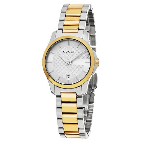 Gucci Women's 'Timeless' Silver Dial Two Tone Stainless Steel Swiss Quartz Watch