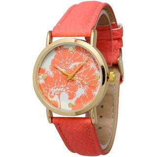 Olivia Pratt Women's Leather Solid Floral Watch