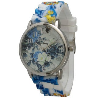 Olivia Pratt Women's Silicone Floral Strap and Dial Watch (5 options available)