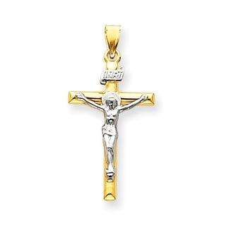 Versil 14k Two-tone Gold INRI Crucifix Pendant