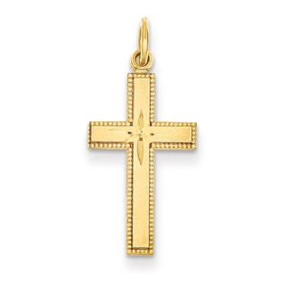 Versil 14k Yellow Gold Diamond-cut Cross Silver Pendant