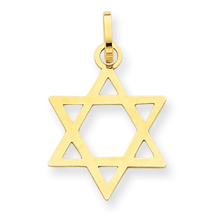 Versil 14k Yellow Gold Star of David Pendant with 18-inch chain