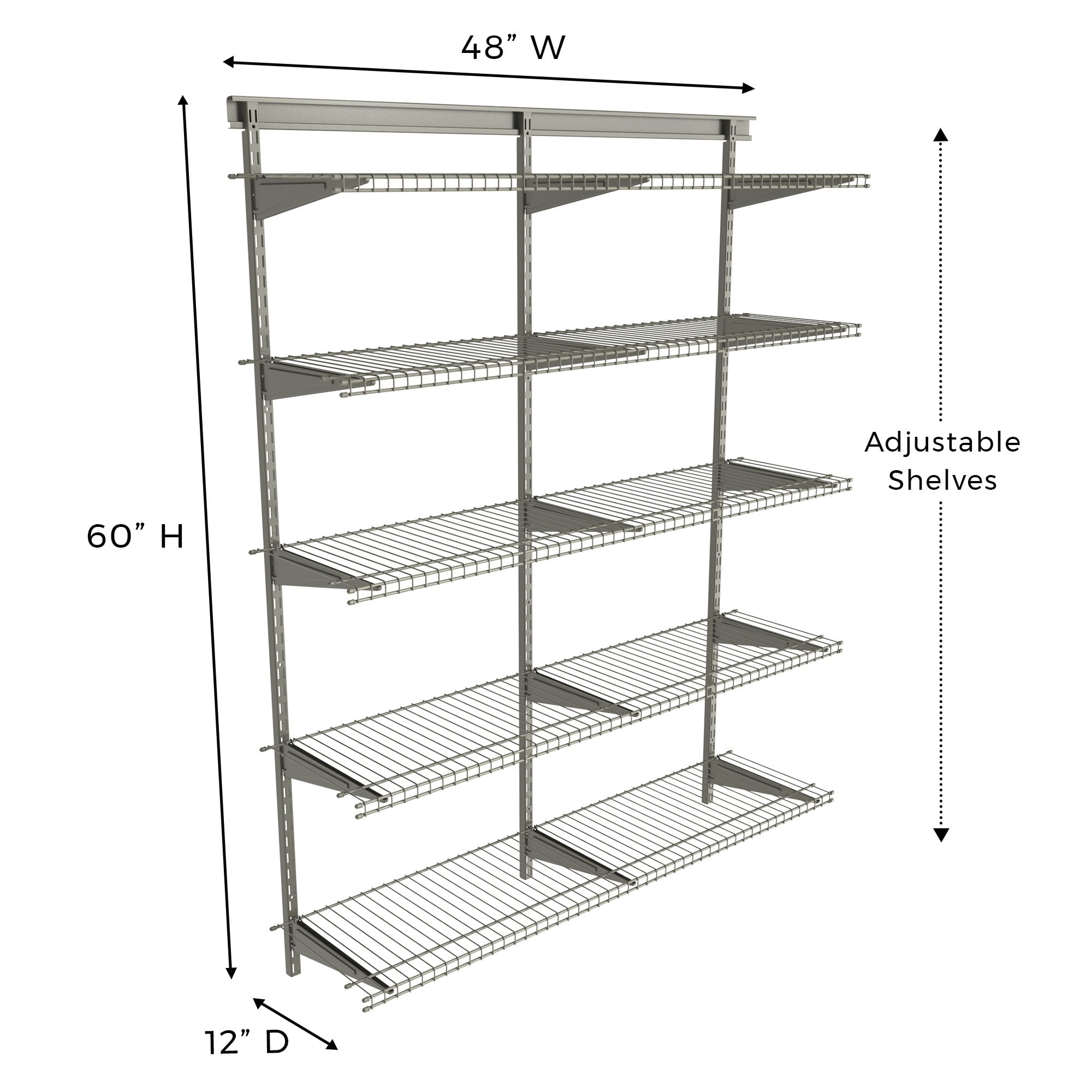 Closetmaid Shelftrack 5 Shelf Nickel Wire Shelving Unit
