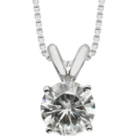 Charles & Colvard Sterling Silver Round Forever Classic Moissanite Solitaire Pendant