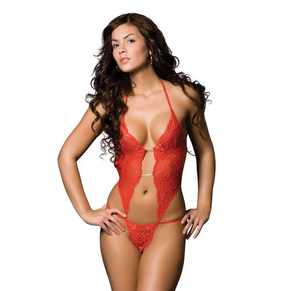 Miorre Sexy Red Sheer Mesh Teddy Lingerie