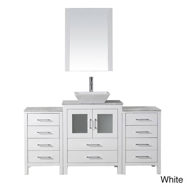48 Inch Bath Vanity, Shop Virtu Usa Dior 64 Inch White Marble Top Single Bathroom Vanity Set With Faucet Overstock 11592338