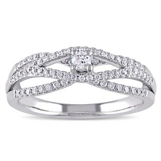 Miadora Signature Collection 14k White Gold 1/3ct TDW Diamond Split Shank Crossover Promise Ring