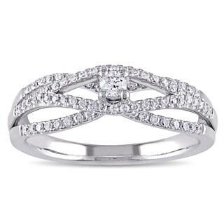 Miadora Signature Collection 14k White Gold 1/3ct TDW Diamond Split Shank Crossover Promise Ring