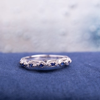 Miadora 10k White Gold Created Blue Sapphire And Diamond Accent Vintage  Anniversary Ring