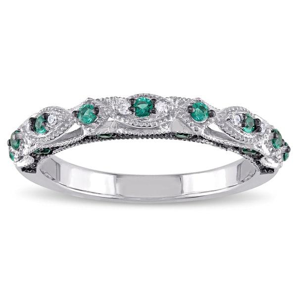 shop miadora 10k white gold created emerald and diamond. Black Bedroom Furniture Sets. Home Design Ideas