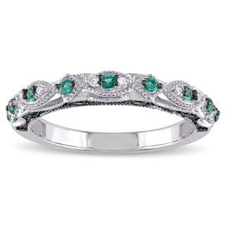 Miadora 10k White Gold Created Emerald and Diamond Accent Vintage Anniversary Ring - Green