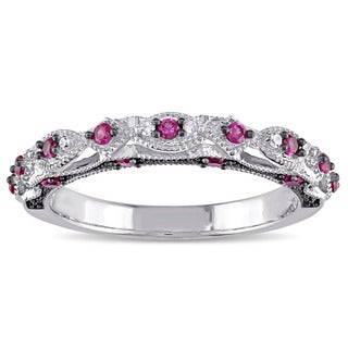 Miadora 10k White Gold Created Ruby And Diamond Accent Vintage Anniversary Ring