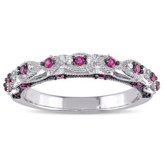 miadora 10k white gold created ruby and diamond accent vintage anniversary ring - Ruby Wedding Ring