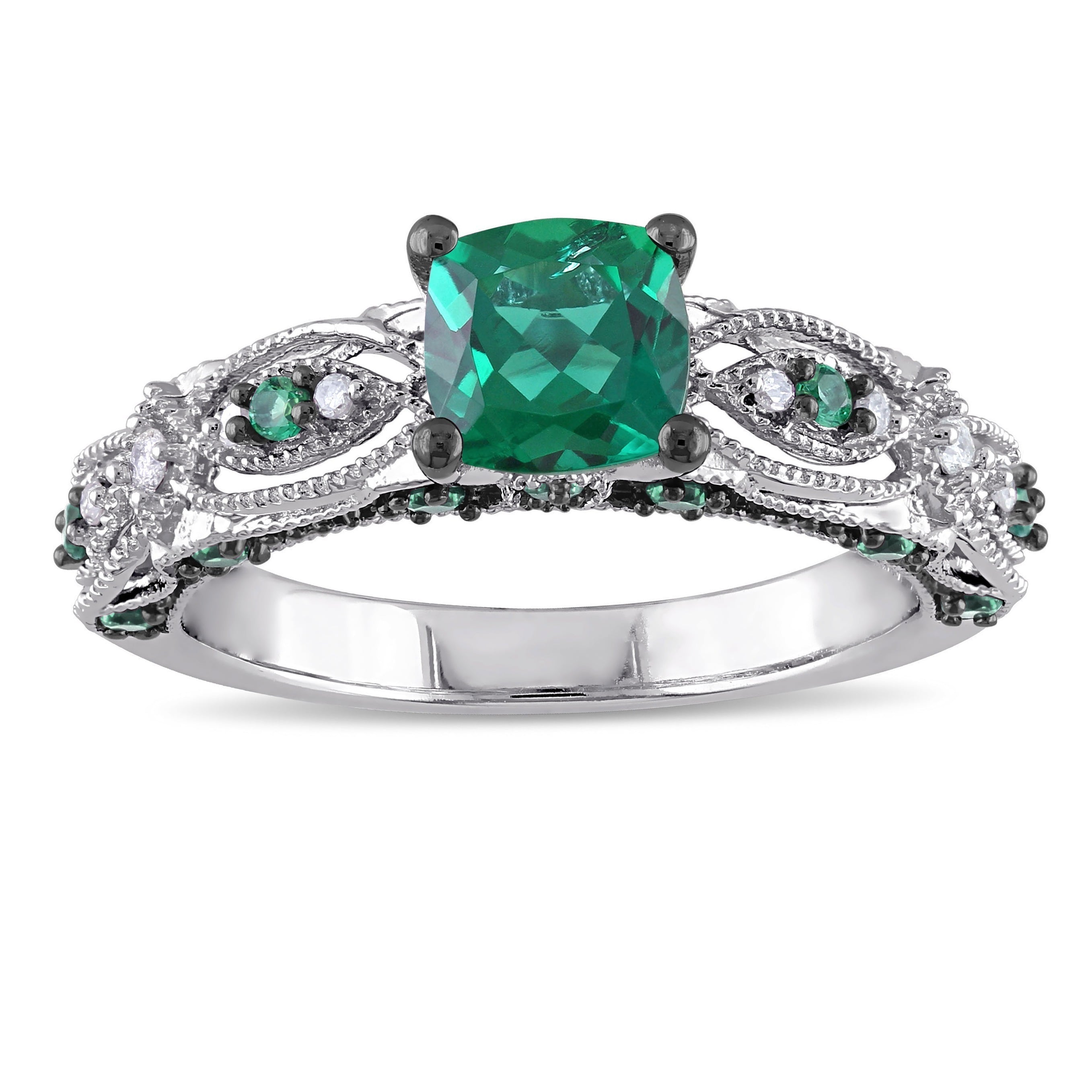 Miadora 10k White Gold Cushion-cut Created Emerald and Di...