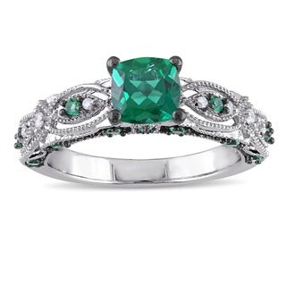 Miadora 10k White Gold Cushion-cut Created Emerald and Diamond Accent Vintage Engagement Ring