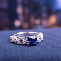 Miadora 10k White Gold Cushion-cut Created Blue Sapphire and Diamond Vintage Infinity Engagement Ring
