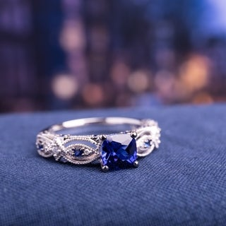 Miadora 10k White Gold Cushion-cut Created Blue Sapphire and Diamond Accent Vintage Engagement Ring
