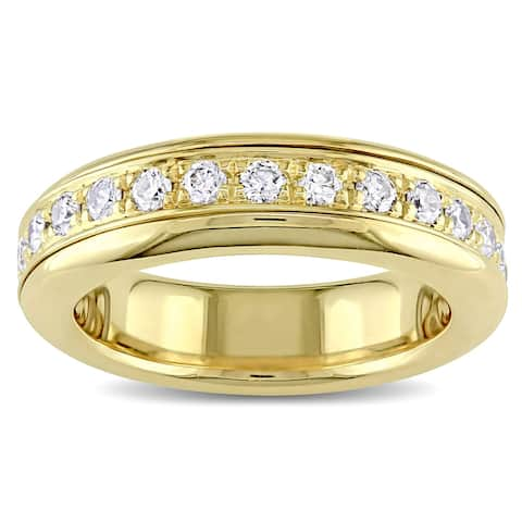 Miadora Signature Collection 18k Yellow Gold 7/8ct TDW Diamond Eternity Ring - White