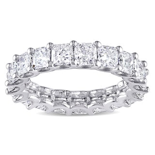 Miadora Signature Collection 18k White Gold 4 1/2ct TDW Certified Cushion-cut Diamond Eternity Ring