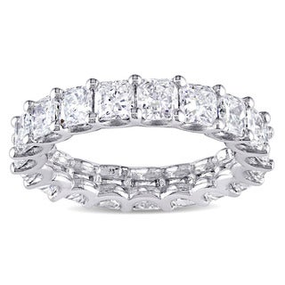 Miadora Signature Collection 18k White Gold 4 1/2ct TDW Certified Cushion-cut Diamond Eternity Ring (G-H, VS2-SI1, IGI)