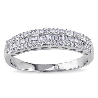 Miadora 10k White Gold 1/3ct TDW Baguette-cut Diamond Anniversary Ring (G-H, I2-I3)