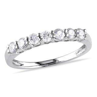Miadora 10k White Gold 1/2ct TW Diamond Anniversary Ring
