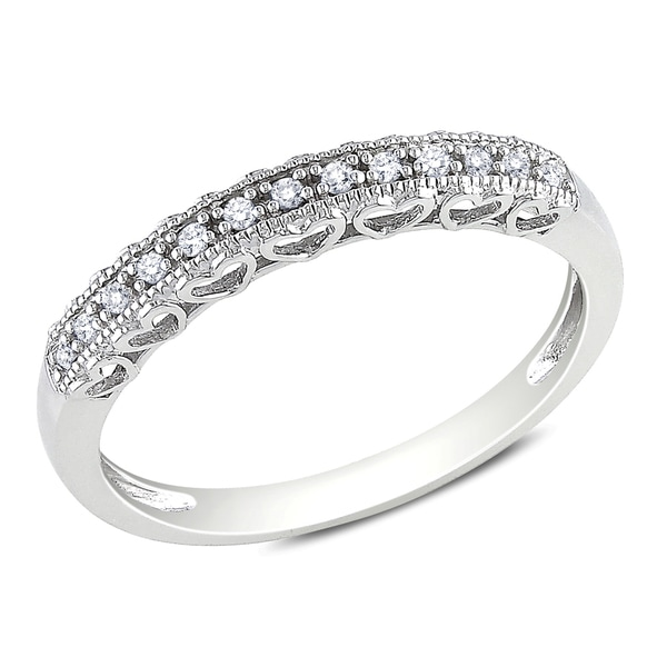 Miadora 10k White Gold Diamond Accent Anniversary Heart Ring