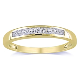 Miadora 10k Yellow Gold 1/4ct TDW Channel-set Princess-cut Diamond Anniversary Ring