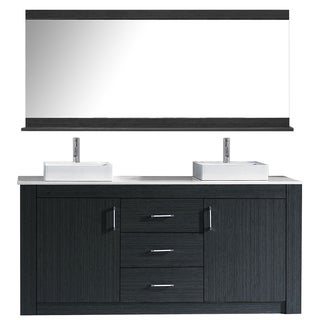 Virtu USA Tavian 60-inch Grey Double Bathroom Vanity Set