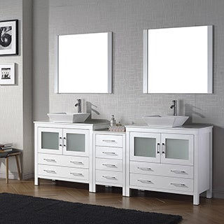 Virtu USA Dior 90-inch Stone Top Double Bathroom Vanity Set with Faucets