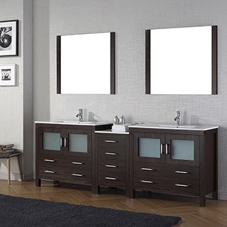 Virtu USA Dior 90-inch Ceramic Top Double Bathroom Vanity Set with Faucets