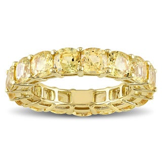 Miadora Signature Collection 14k Yellow Gold Cushion-cut Light Yellow Sapphire Eternity Ring