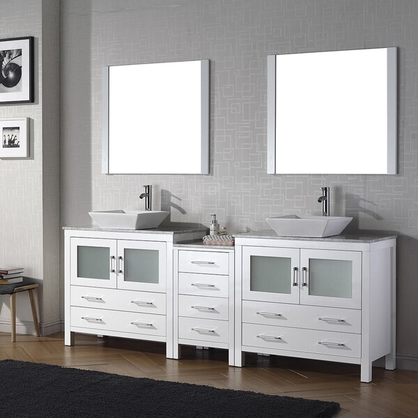 Shop Virtu Usa Dior 90 Inch White Marble Top Double Bathroom Vanity Set With Faucets Free