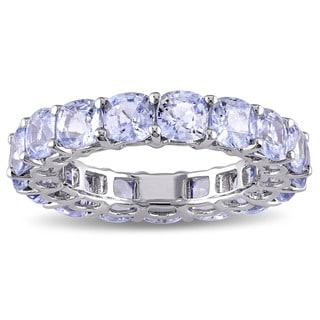 Miadora Signature Collection 14k White Gold Cushion-cut Light Blue Sapphire Eternity Ring