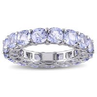 Miadora Signature Collection 14k White Gold Cushion-cut Light Blue Sapphire Eternity Ring