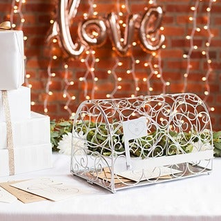 "Personalized Heart Silver Reception Gift Card Mailbox Holder - 14.25""L x 8.5""D x 9""H"
