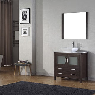 Virtu USA Dior 36-inch White Marble Top Single Bathroom Vanity Set with Faucet