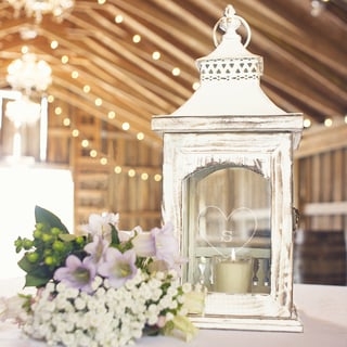 Personalized Heart Rustic Centerpiece Lantern